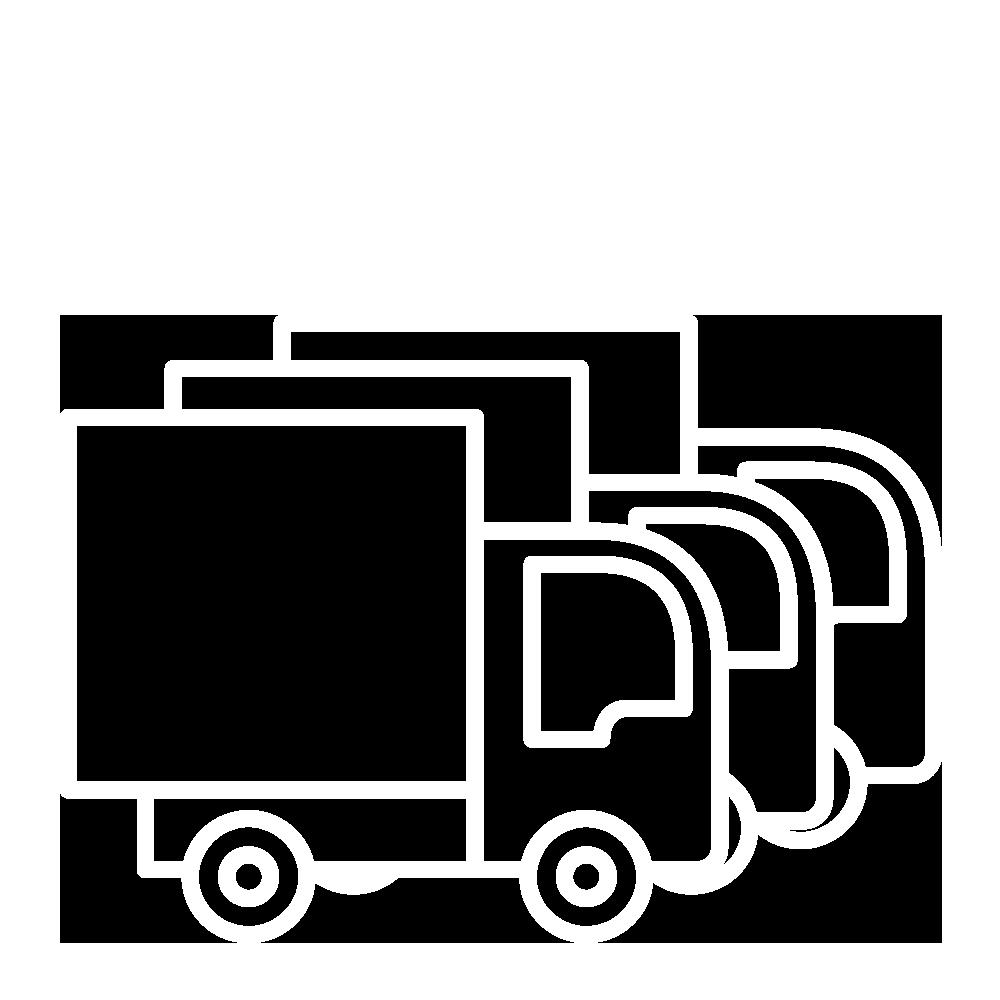 Logo služby Distribuční logistika - bílá ikona distribučního vozu.