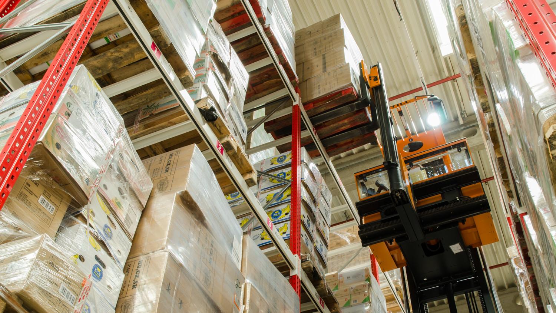 Skladování - pohled na zaplněný sklad ESA logistika, regály, VZV, palety, zboží v krabicích