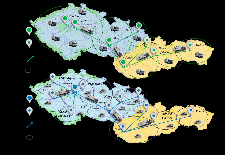 Dopravní distribuční služby -distibuční síť - suché a chlazené zboží_mapa s obrázky_legenda_denní převozy_X-dock_distribuce