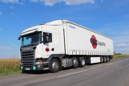 Scania truck, blue sky, filed