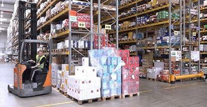 Warehouse, forklift, pallets