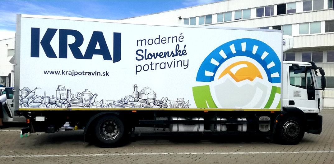 ESA logistika truck in colors of KRAJ company