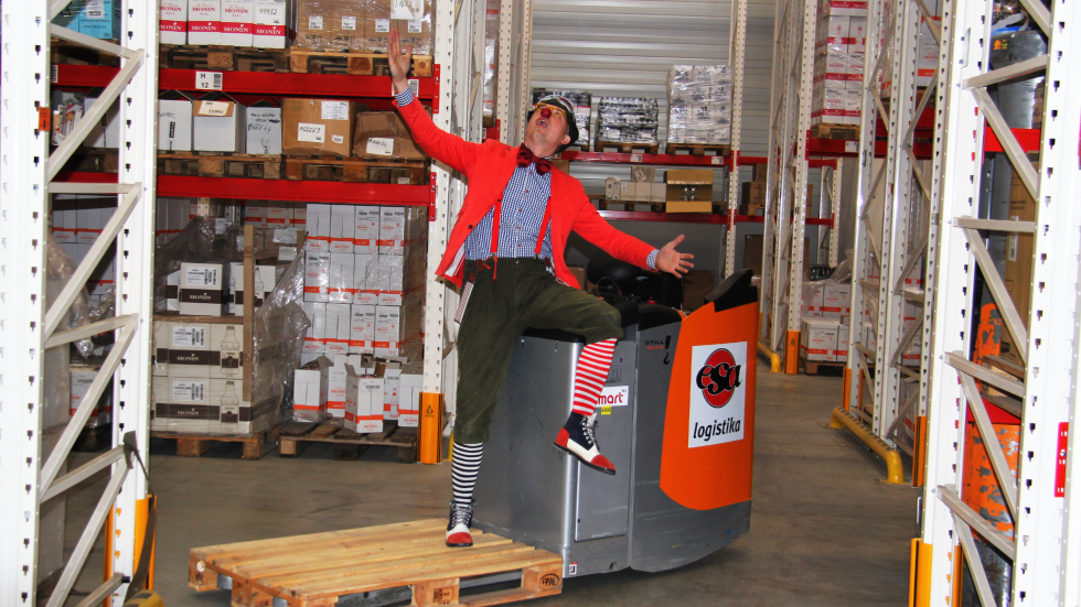 We have clowns in the warehouse! We help Chance for children!