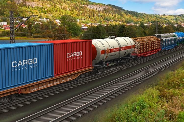 Dopravní řešení_železniční doprava_nákladní vlak s různými druhy zboží